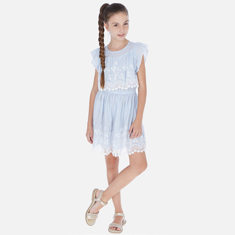 Mayoral Embroidered Poplin Dress