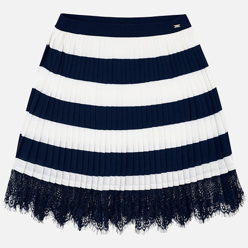 Mayoral Pleated Striped Skirt