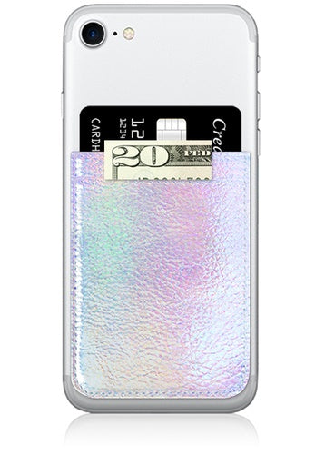 Iridescent Faux Leather Phone Pocket