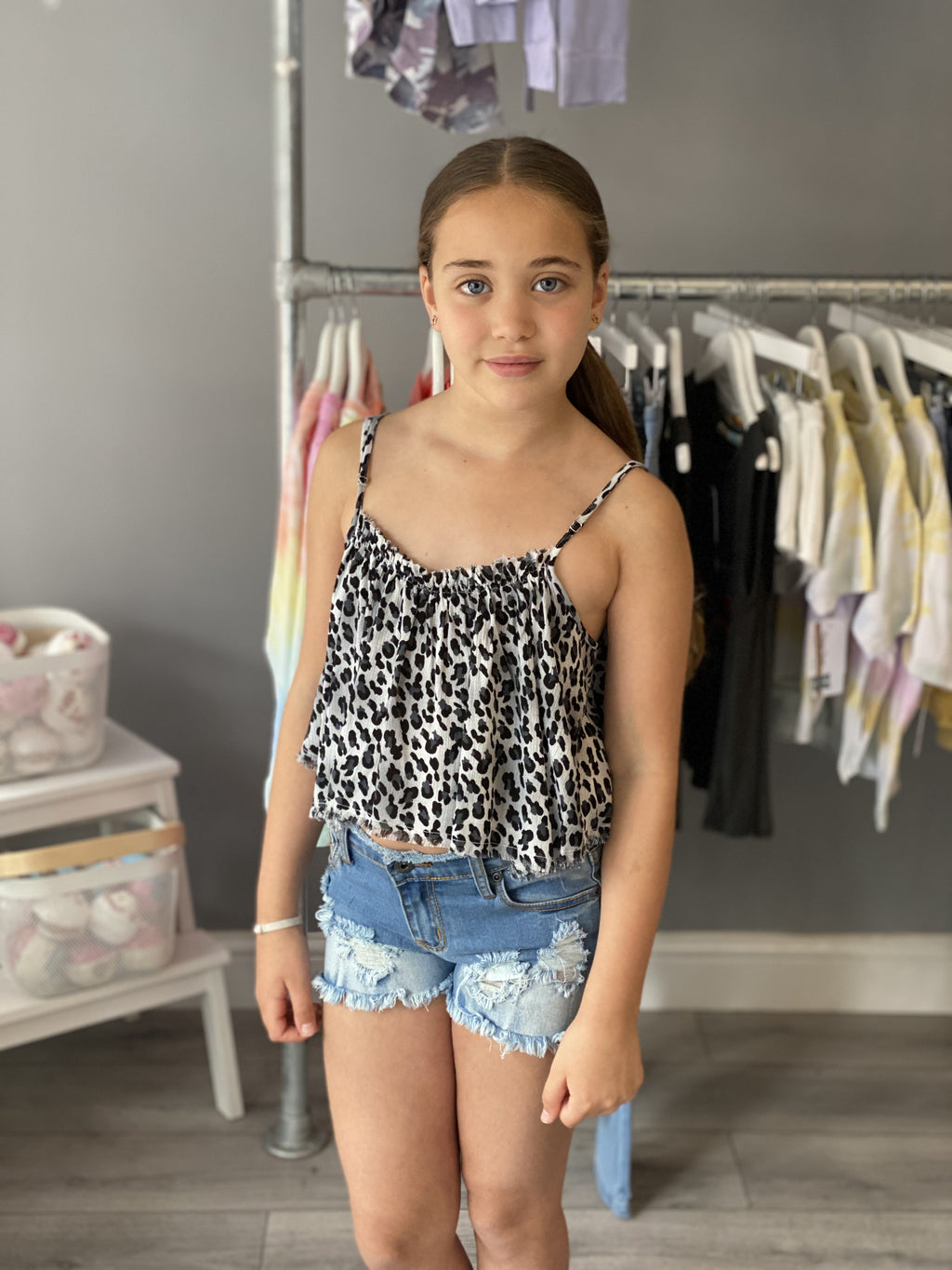 Vintage Havana Grey Leopard Crop Top