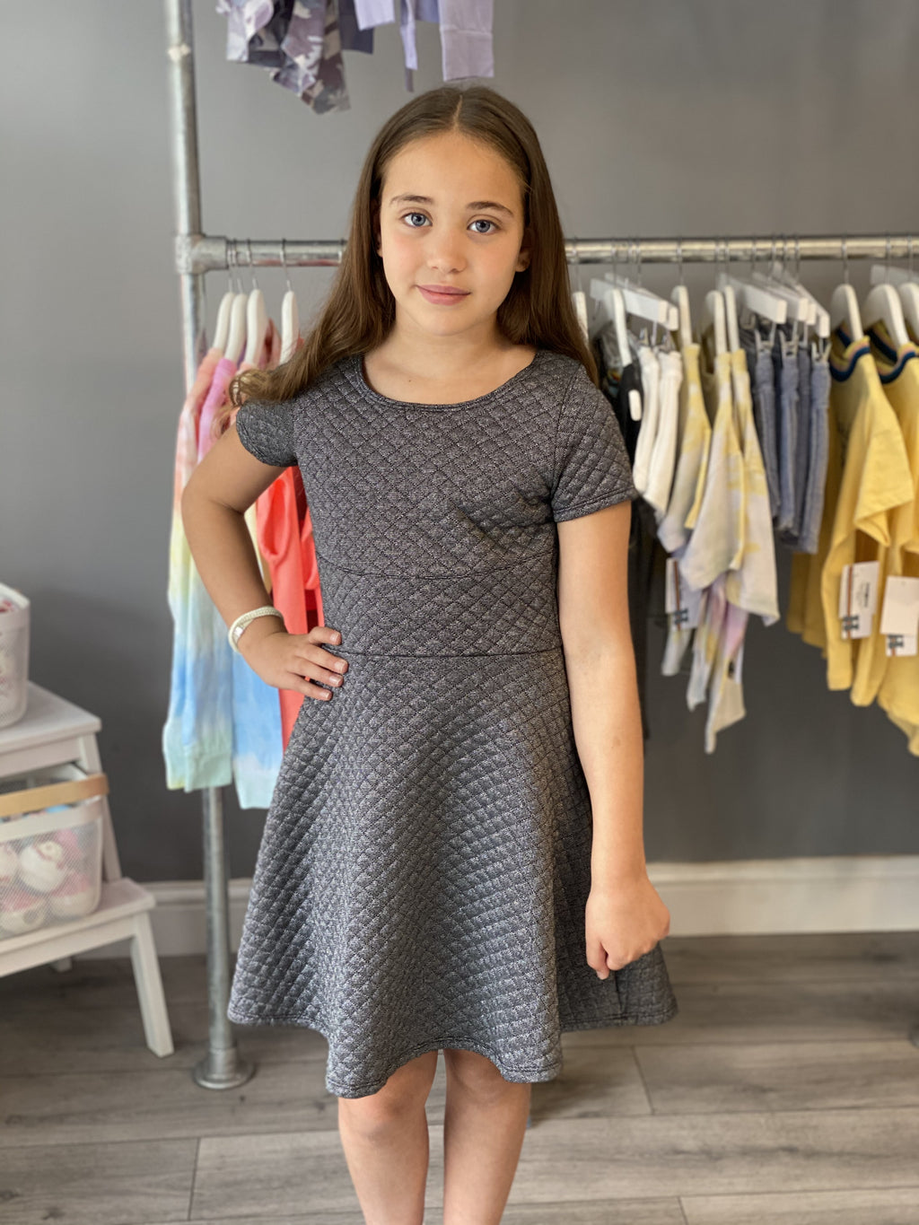 Cheryl Kids Lurex Quilted Dress