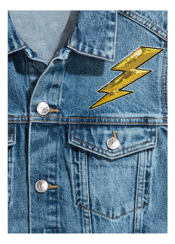 "Lightening 2"" Sequin Sticker Patch"