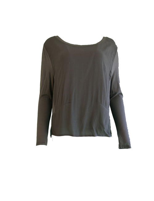 Crepe Top with Jersey Sleeves