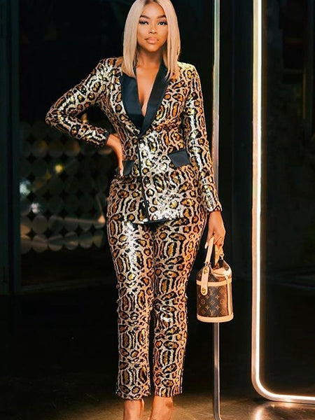 Sequined Leopard Blazer And Pants Set