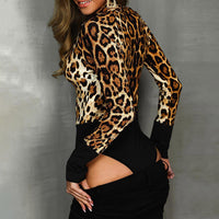 Leopard Print  Long Sleeve Body Suit