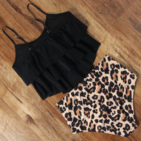 High Waist  Animal Print Tankini Swimsuit
