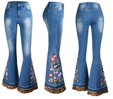 Embroidery Bell-Bottom Jeans
