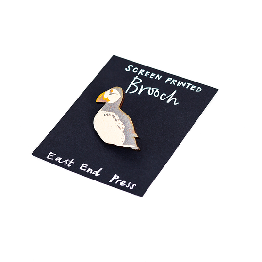 Puffin Screenprinted Brooch