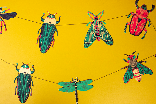 Insect Screenprinted Paper Garland