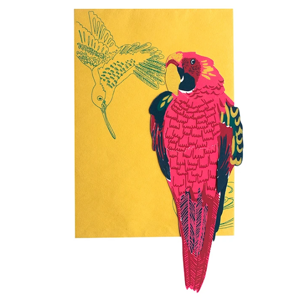 Parrot Screenprinted Card