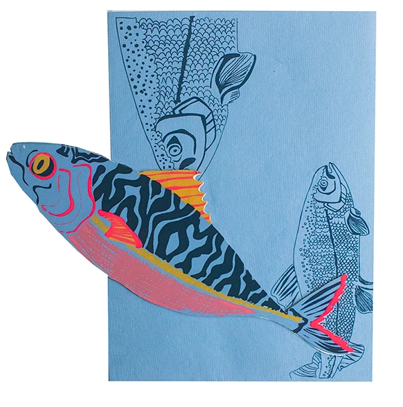 Mackerel Screenprinted Card