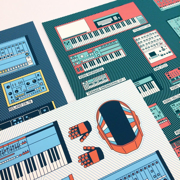 Block Rockin' Beats (Drum Machines Gear Print)