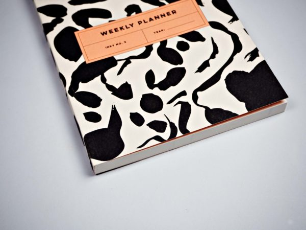 Black & White Inky Weekly Planner Book