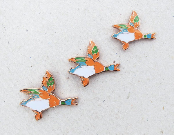 Flying Ducks Enamel Pin Set