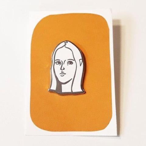 70s Chick Enamel Pin