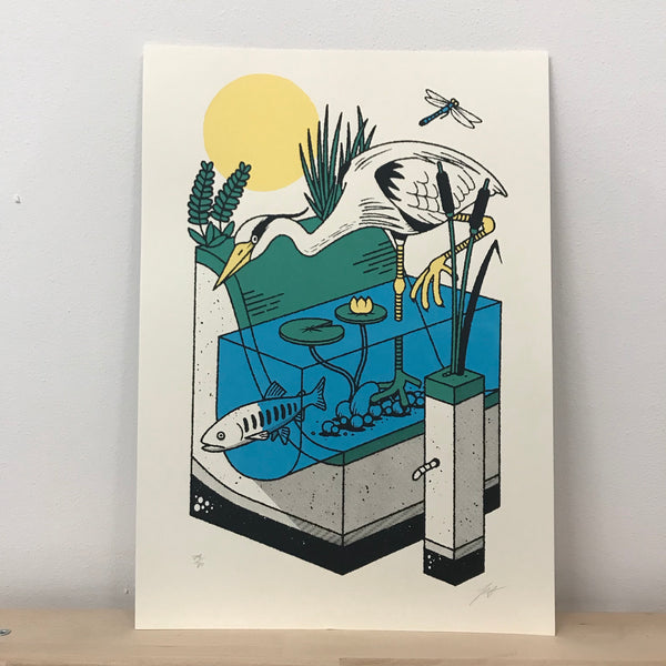Crane screenprint