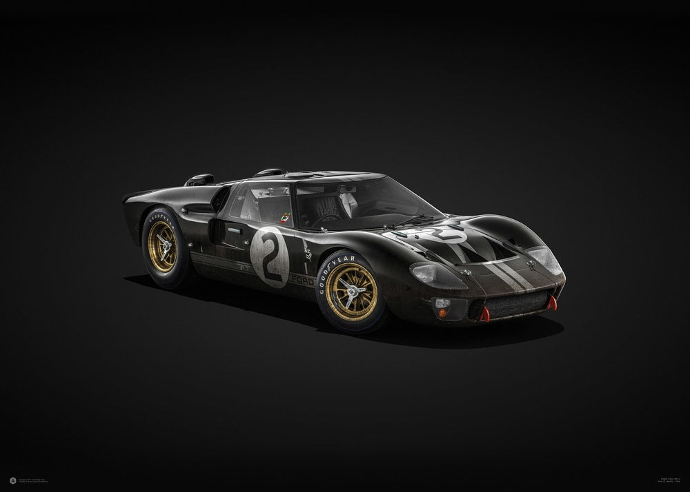 Ford GT40 - Black - 24h Le Mans - 1966 - Colors of Speed Poster