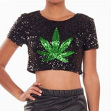 Green Leaf Sequin Top - Irie Blues
