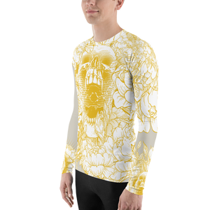 Hustle Harder Ochre Floral Men's Rash Guard V.2