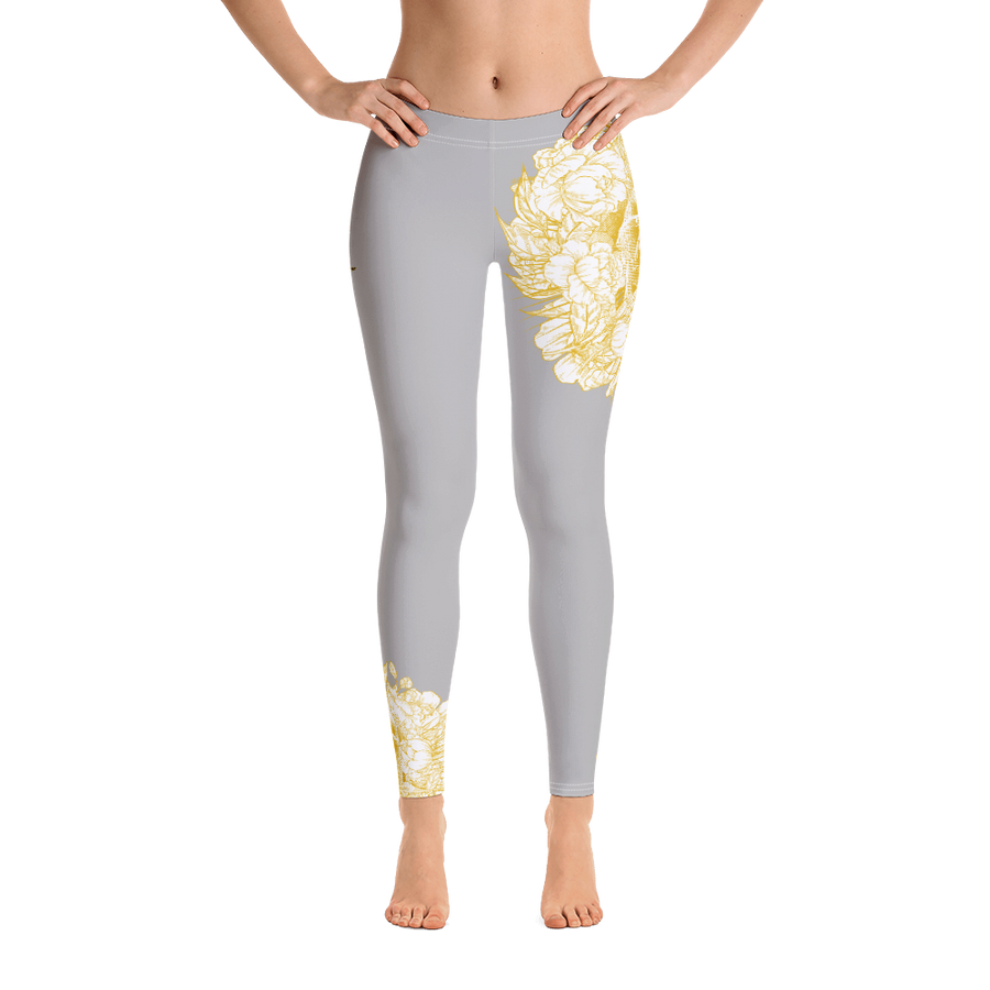 Hustle Harder Skull Floral Ochre Leggings