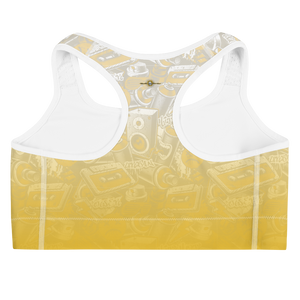 Hustle Harder Graffiti Ochre Sports bra