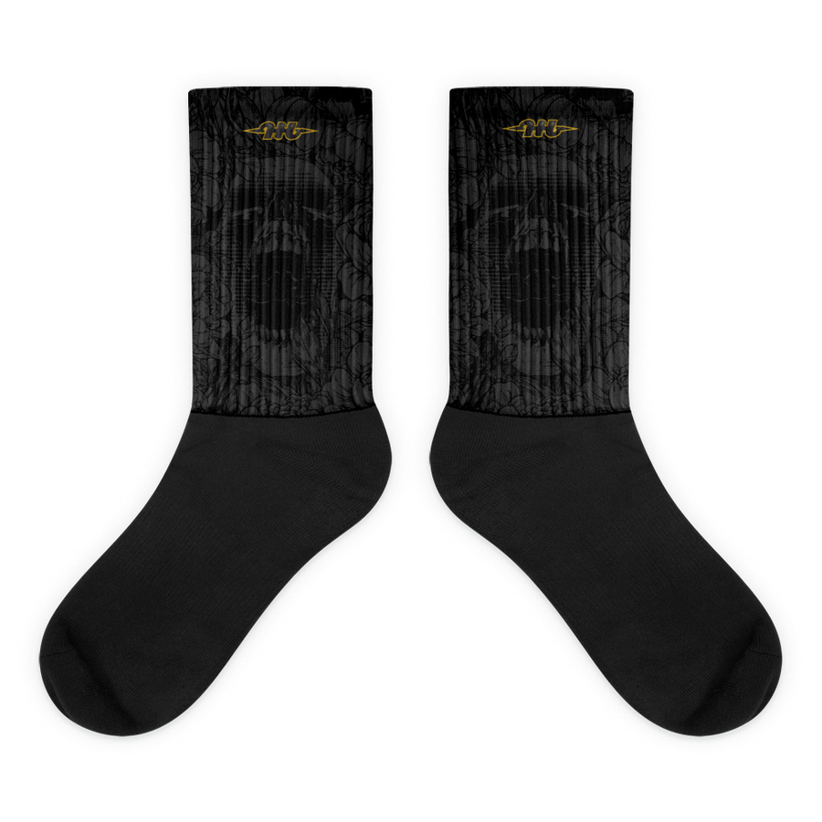 Hustle Harder Onyx Black Foot Socks