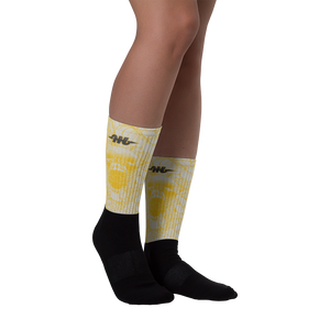 Hustle Harder Ochre Black Foot Socks