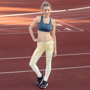 Hustle Harder Floral Camo Ochre Leggings