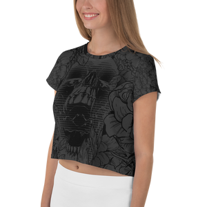 Hustle Harder Onyx Floral Crop Tee