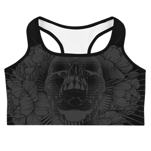 Hustle Harder Skull Floral Onyx Sports bra