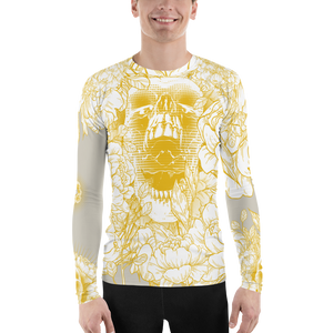 Hustle Harder Ochre Skull Floral Men's Rash Guard