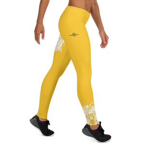 Hustle Harder Skull Floral Ochre V2 Leggings
