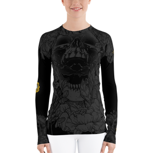 Hustle Harder Onyx Floral Women's Rash Guard