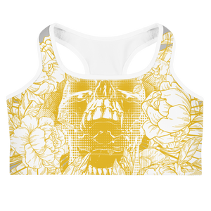 Hustle Harder Skull Floral Ochre Sports bra