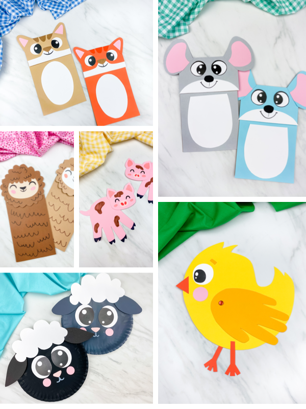 collage of farm animal craft images
