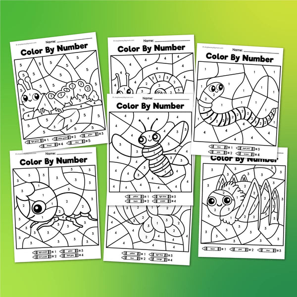 Bug Color By Number Printables