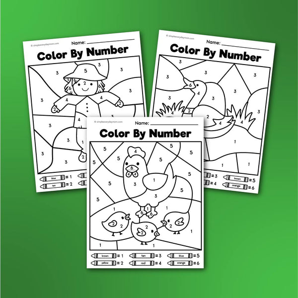 Farm Color By Number Printables