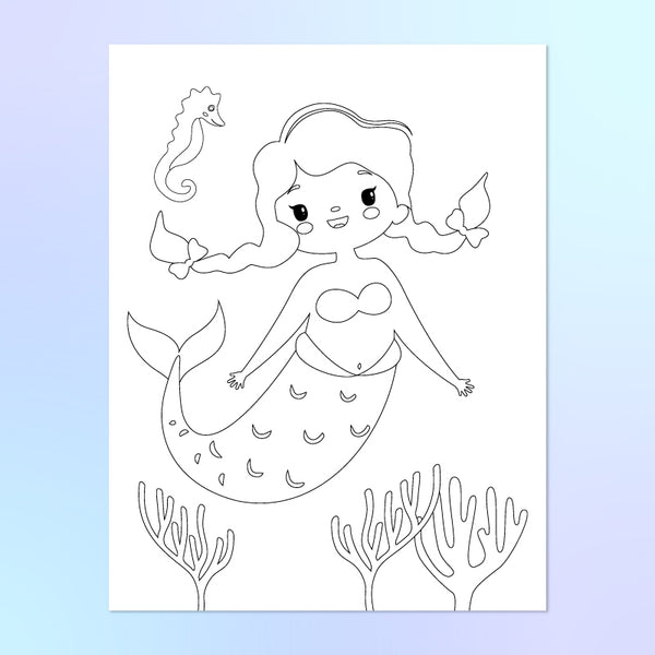 mermaid coloring page with seahorse