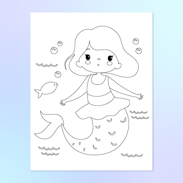 child mermaid coloring page with fish