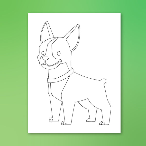 boston terrrier puppy coloring page