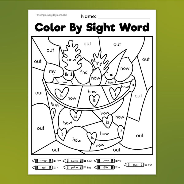 bucket of leaves color by sight word worksheet
