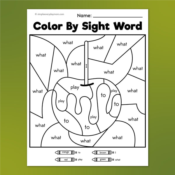 caramel apple color by sight word worksheet