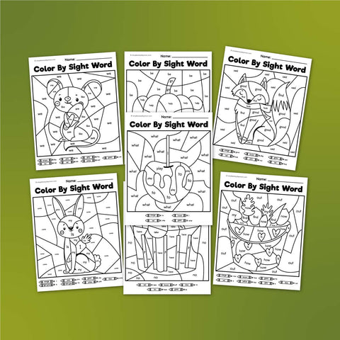 fall color by sight word worksheets