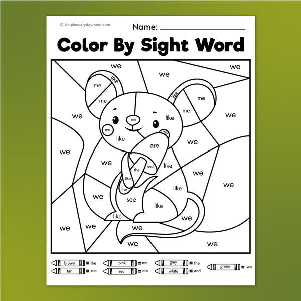 mouse color by sight word worksheet