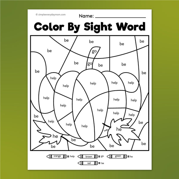 pumpkin color by sight word worksheet
