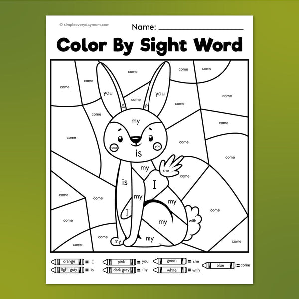 rabbit color by sight word worksheet