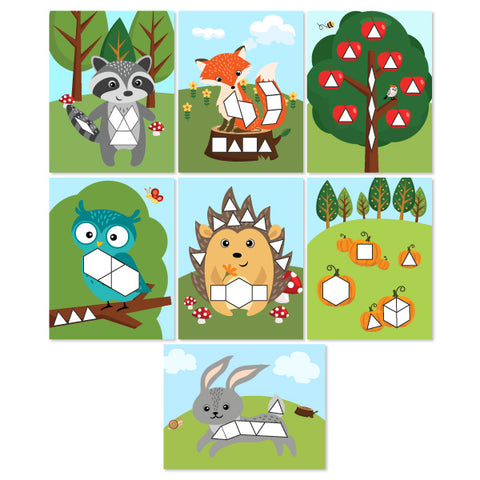7 kids fall themed tangram mats