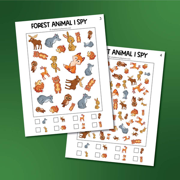 Forest Animal I Spy Printables