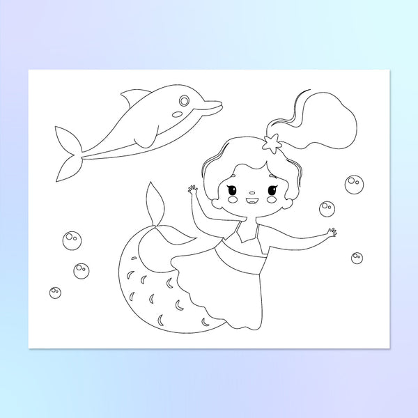 cute mermaid coloring page with dolphin