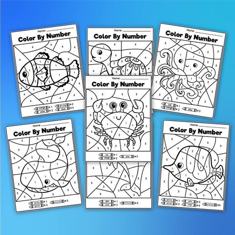 Ocean Color By Number Worksheets